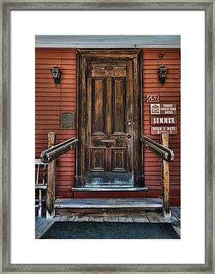 Vermont Country Store Door Framed Print by Stephen Stookey