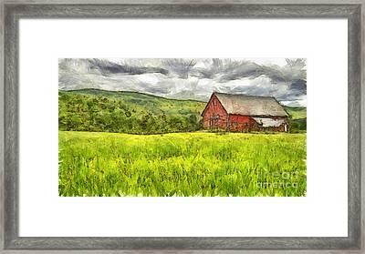 Vermont Farm Landscape Pencil Framed Print by Edward Fielding