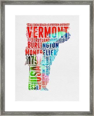 Vermont Watercolor Word Cloud  Framed Print by Naxart Studio