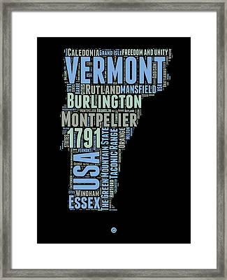 Vermont Word Cloud 1 Framed Print by Naxart Studio