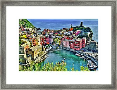 Vernazza Alight Framed Print by Frozen in Time Fine Art Photography