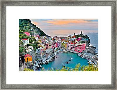 Vernazza At Daybreak Framed Print by Frozen in Time Fine Art Photography