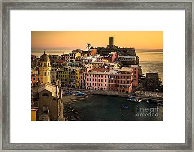 Vernazza At Sunset Framed Print by Prints of Italy