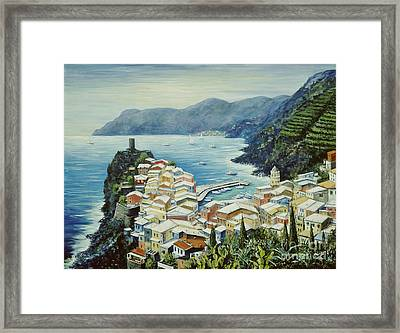 Vernazza Cinque Terre Italy Framed Print by Marilyn Dunlap