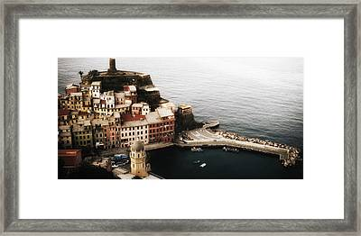 Vernazza From Above Framed Print by Andrew Soundarajan