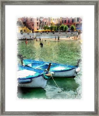 Vernazza Harbor Cinque Terre Italy Framed Print by Edward Fielding