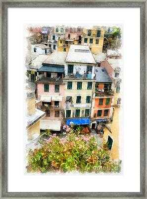 Vernazza Italy In The Cinque Terra Framed Print by Edward Fielding