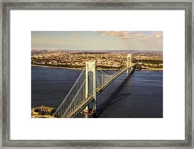 Verrazano Narrows Bridge Aerial View Framed Print by Susan Candelario
