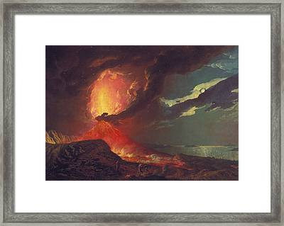 Vesuvius In Eruption, With A View Over The Islands In The Bay Of Naples Framed Print by Joseph Wright
