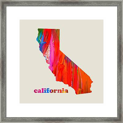 Vibrant Colorful California State Map Painting Framed Print by Design Turnpike