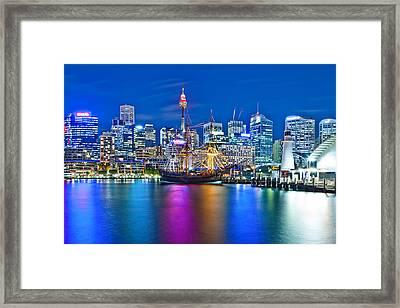 Vibrant Darling Harbour Framed Print by Az Jackson