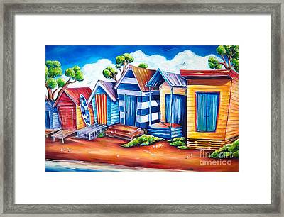 Victorian Beach Huts Framed Print by Deb Broughton