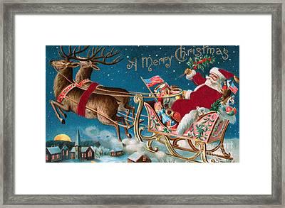 Victorian Christmas Card Framed Print by American School