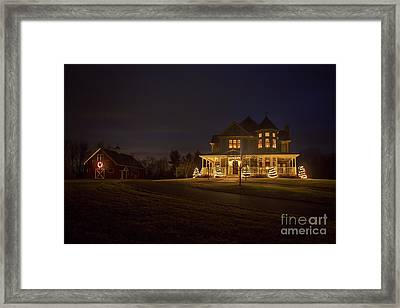 Victorian House At Christmas Framed Print by Diane Diederich