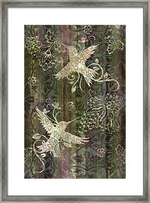 Victorian Hummingbird Green Framed Print by JQ Licensing