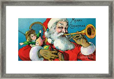 Victorian Illustration Of Santa Claus Holding Toys And Blowing On A Trumpet Framed Print by American School