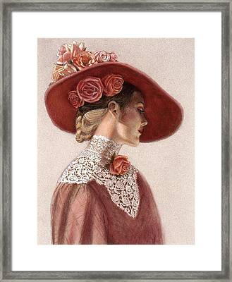 Victorian Lady In A Rose Hat Framed Print by Sue Halstenberg