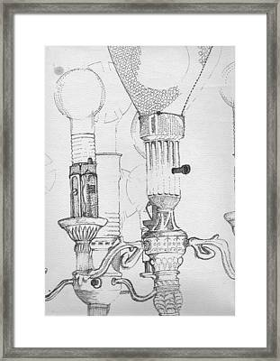 Victorian Lamp Drawing Framed Print by Ron Hayes