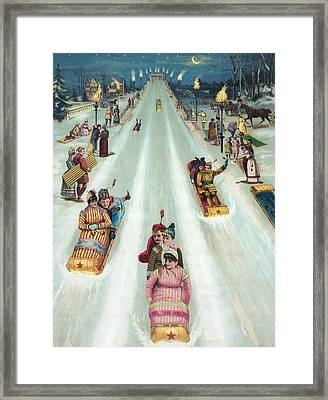 Victorian Poster Of Night Sledding Framed Print by American School