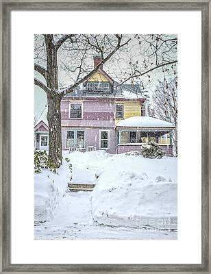 Victorian Snowstorm Framed Print by Edward Fielding