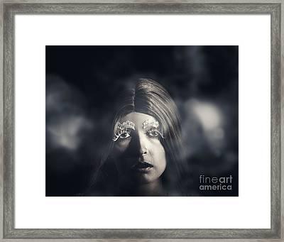 Victorian Woman Walking Winter Streets In Fear Framed Print by Jorgo Photography - Wall Art Gallery
