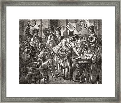 Viennese Coffee House Life, 1875. From Framed Print by Vintage Design Pics