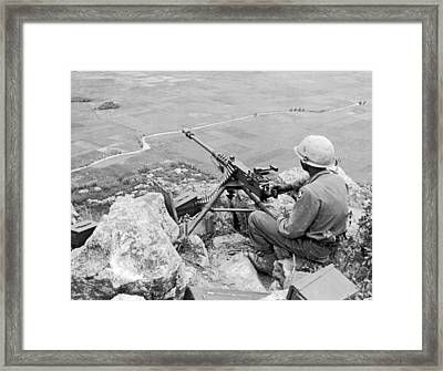 Vietnam Machine Gunner Framed Print by Underwood Archives