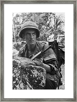 Vietnam Soldier Framed Print by Underwood Archives