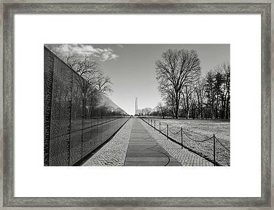 Vietnam War Memorial With Lincoln Memorial In Background Framed Print by Brandon Bourdages