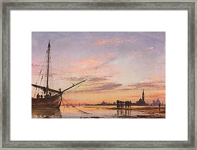 View Across The Lagoon, Venice, Sunset Framed Print by Edward William Cooke