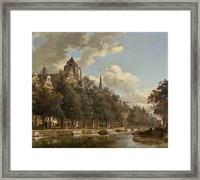 View Down A Dutch Canal Framed Print by Jan Van Der Heyden