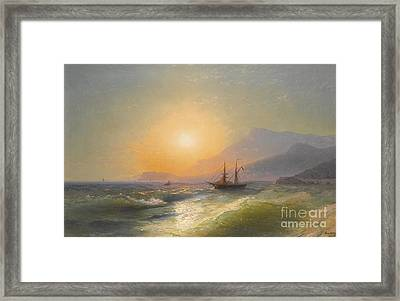 View From Cap Martin With Monaco In The Distance Framed Print by Konstantinovich Aivazovsky