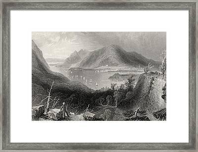 View From Fort Putnam Hudson River Usa Framed Print by Vintage Design Pics
