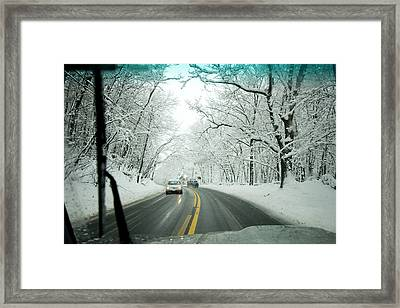 View From Inside A Car, Driving Framed Print by Tim Laman