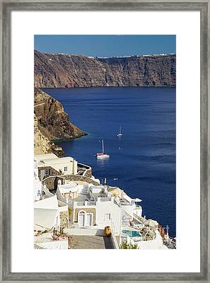 view from Oia Framed Print by HD Connelly