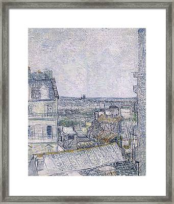 View From Vincent's Room In The Rue Lepic Framed Print by Vincent van Gogh