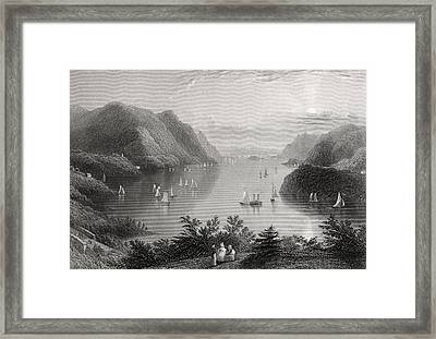 View From West Point Hudson River Usa Framed Print by Vintage Design Pics