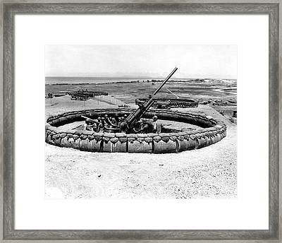 View Of A 90mm Aaa Gun Emplacement Framed Print by Stocktrek Images