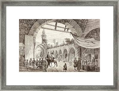 View Of A Bazaar In Tunis, Tunisia In Framed Print by Vintage Design Pics