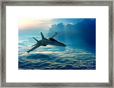 View Of A Fighter Jet Above The Clouds Framed Print by Caio Caldas