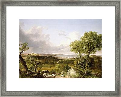 View Of Boston Framed Print by Thomas Cole