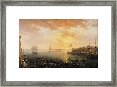 View Of Brest Harbor Framed Print by Jean Francois Hue