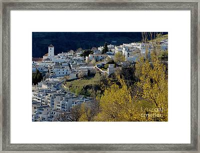View Of Capileira Village In The Alpujarras Mountains In Andalusia Framed Print by Sami Sarkis
