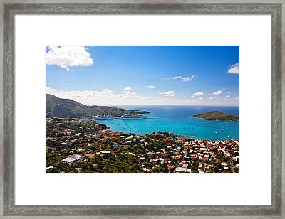 View Of Charlotte Amalie St Thomas Us Virgin Islands Framed Print by George Oze