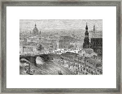 View Of Dresden, Germany In The 19th Framed Print by Vintage Design Pics
