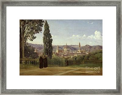 View Of Florence From The Boboli Gardens Framed Print by Jean Baptiste Camille Corot