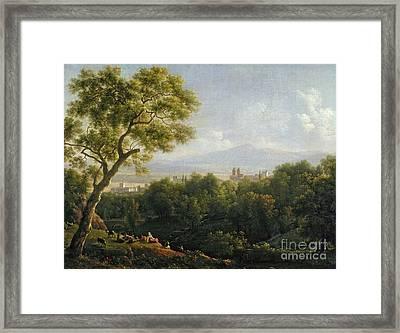View Of Frascati Framed Print by Jean Bidauld