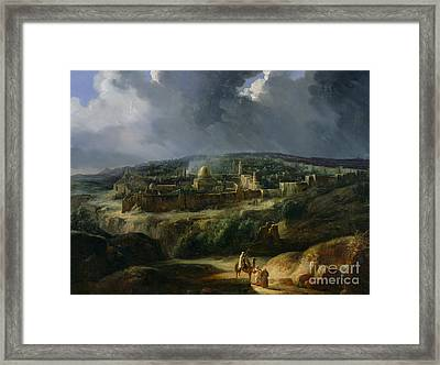 View Of Jerusalem From The Valley Of Jehoshaphat Framed Print by Auguste Forbin