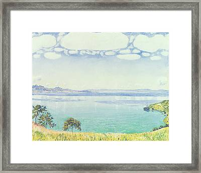 View Of Lake Leman From Chexbres Framed Print by Ferdinand Hodler