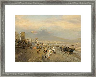 View Of Naples At Sunset Framed Print by Oswald Achenbach